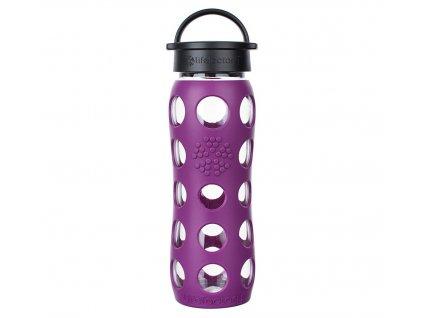 Lifefactory skleněná láhev na vodu s klasickým uzávěrem 650 ml fialová 1