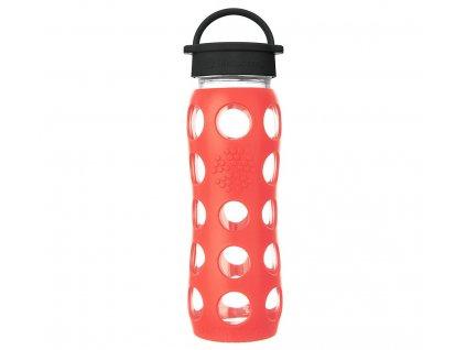 Lifefactory skleněná láhev na vodu s klasickým uzávěrem 650 ml poppy 1
