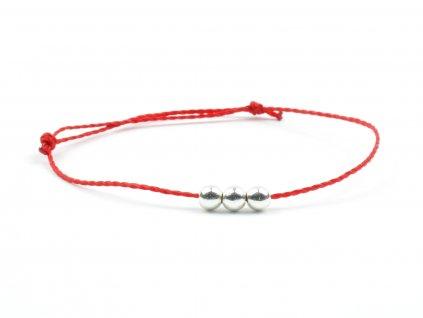 Moni dámský šňůrkový náramek červený s hematitovými korálky 1