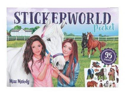 Miss Melody holčičí kreativní sešit se samolepkami dívky a koně 1