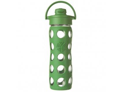 Lifefactory - skleněná lahev s flip uzávěrem 475ml green