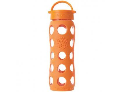 Lifefactory - skleněná láhev s klasickým uzávěrem 650ml orange