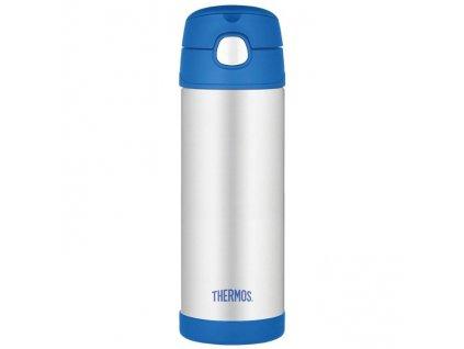 Thermos - FUNtainer dětská nerezová termoska s brčkem 470 ml modrá