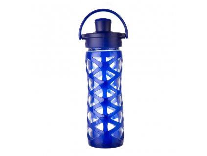 Lifefactory skleněná lahev ACTIV uzávěr 475 ml Sapphire