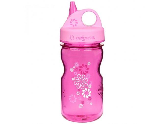 NALGENE - dětská láhev Grip'n Gulp 375 ml Pink with Wheels
