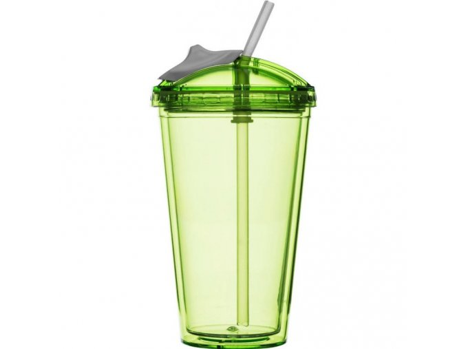 Sagaform - hrnek s brčkem Fresh Smoothie Mug 450 ml zelený
