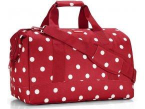 Červená cestovní taška s bílými puntíky 1