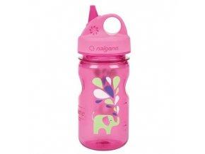 NALGENE - dětská láhev Grip'n Gulp 375 ml Pink Elephant