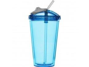 Sagaform - hrnek s brčkem Fresh Smoothie Mug 450 ml modrý