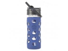 Lifefactory - skleněná lahev s brčkem 350 ml cobalt
