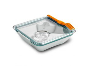 BLACK-BLUM Lunch Box Apetit, bílo modrý, oranžová vidlička