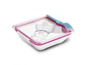 BLACK-BLUM Lunch Box Apetit, bílo růžový, modrá vidlička