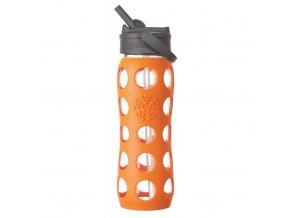 Lifefactory - skleněná láhev s brčkem 650ml orange