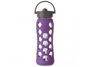 Lifefactory - skleněná láhev s brčkem 650ml purple