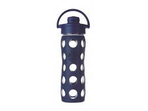 Lifefactory skleněná lahev s flip uzávěrem 475ml midnight blue