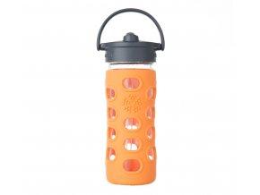 Lifefactory skleněná lahev s brčkem 350 ml orange