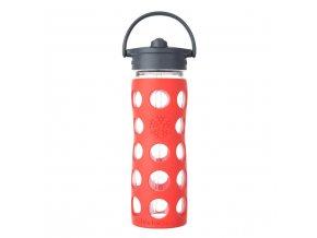 Lifefactory skleněná láhev s brčkem 475ml poppy