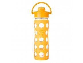 Lifefactory skleněná lahev s flip uzávěrem 475ml collegiate yellow