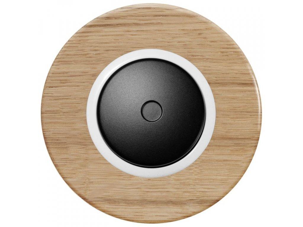 LED stmívač otočný push-pull, kompletní, RETRO DŘEVO dub (Varianta Rám: dřevo dub světlý, Kryt: černý, Ovladač: stmívač - bílý)