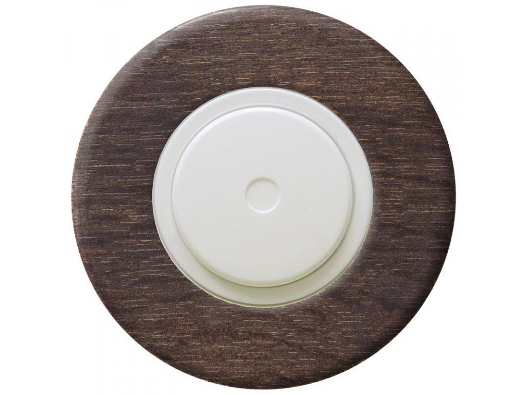 LED stmívač otočný push-pull, kompletní, RETRO DŘEVO dub (Varianta Rám: dřevo dub tmavý, Kryt: černý, Ovladač: stmívač - bílý)