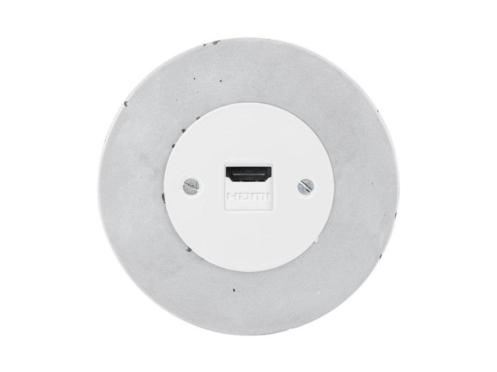 Retro zásuvka OBZOR BETON (Typ Schuko, Varianta Rám: beton, Kryt: černá mat)