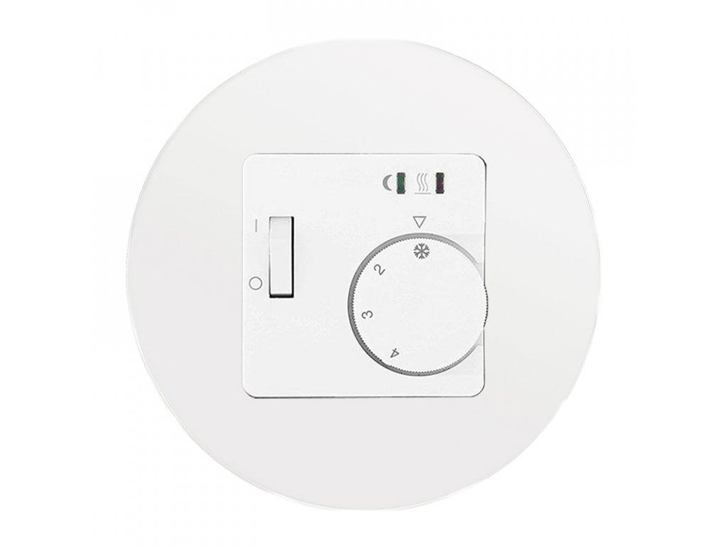 Termostat FRE L2A-50 analogový, kompletní, RETRO SKLO (Varianta Rám: sklo - bílá, Varianta: analogový, podlahový, pod omítku, včetně čidla)