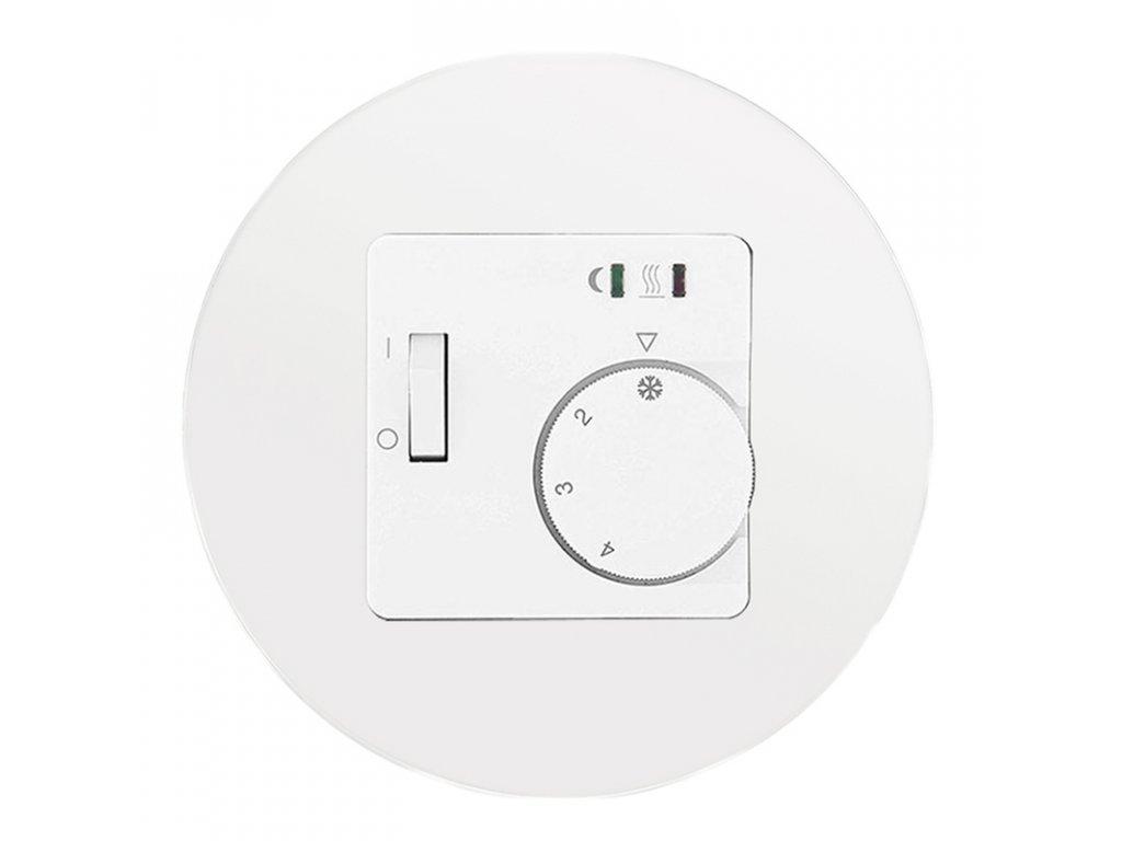 Termostat RTR-E 8011-50 analogový, kompletní, RETRO SKLO (Varianta Rám: sklo - bílá, Varianta: analogový prostorový - bimetal, na omítku, bez čidla)