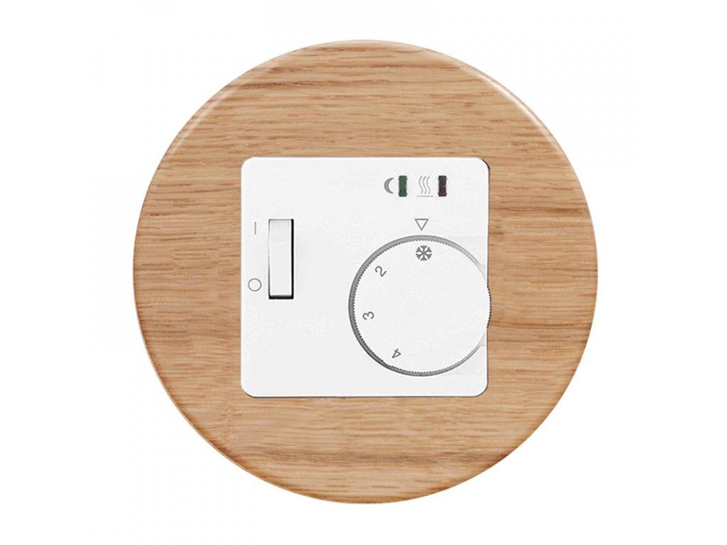 Termostat RTR-E 8011-50 analogový, kompletní, RETRO DŘEVO (Varianta Rám: dřevo buk, Varianta: analogový prostorový - bimetal, na omítku, bez čidla)