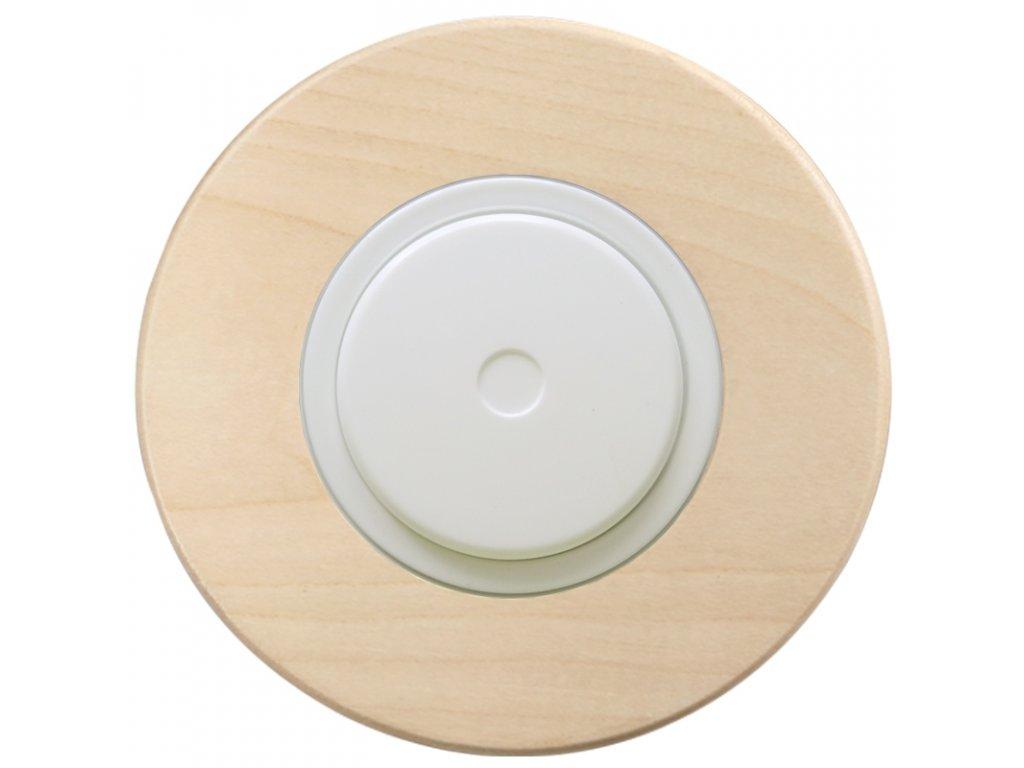 LED stmívač otočný push-pull, kompletní, RETRO DŘEVO javor (Varianta Rám: dřevo javor, Kryt: černý, Ovladač: stmívač - bílý)