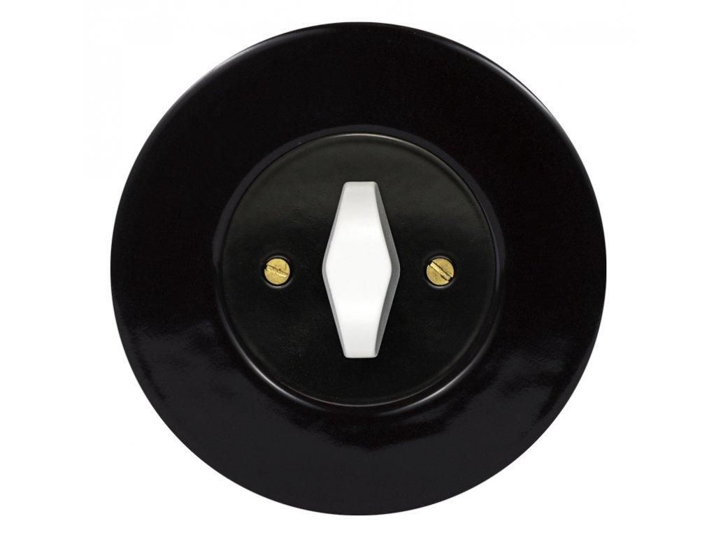 Vypínač dvojpólový, řaz. 2, kompletní, RETRO KERAMIKA černá (Varianta Rám: keramika - černá, Kryt: černý, Ovladač: ZLN patina)