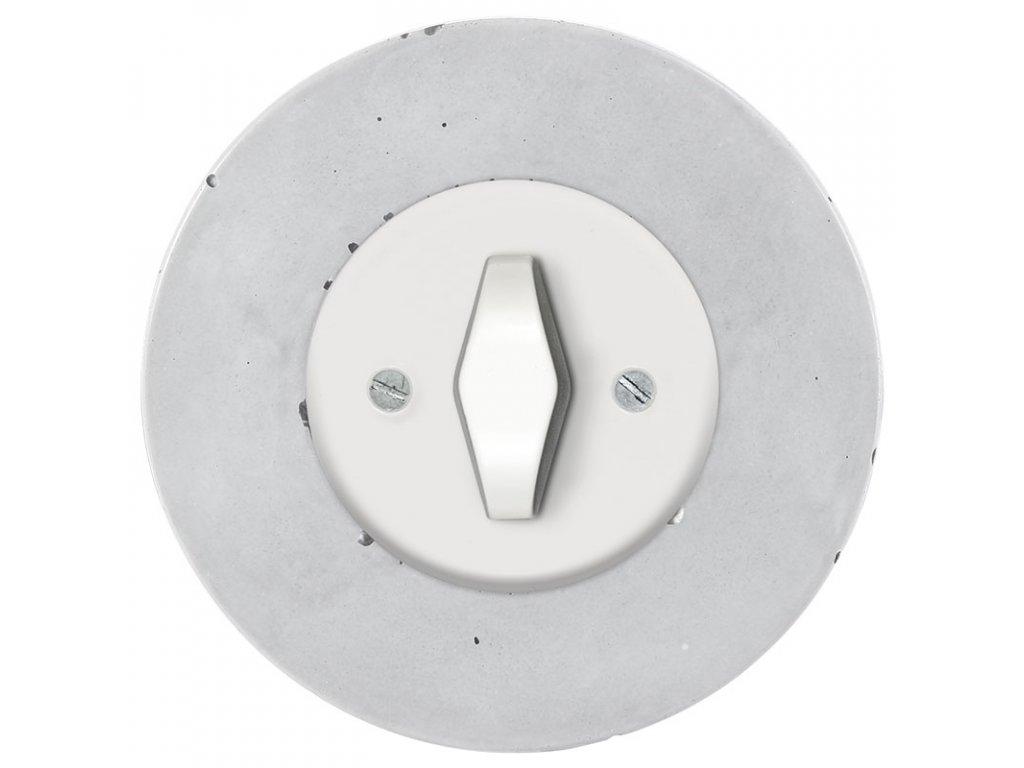 Vypínač jednopólový, řaz. 1, kompletní, RETRO BETON (Varianta Rám: beton, Kryt: černý, Ovladač: ZLN patina)
