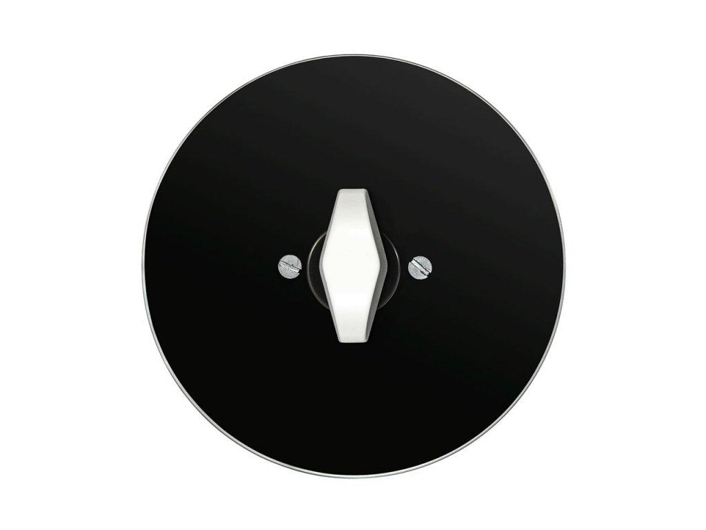 Vypínač jednopólový, řaz. 1, kompletní, RETRO SKLO (Varianta Rám: sklo - černá, Ovladač: BTA černá)