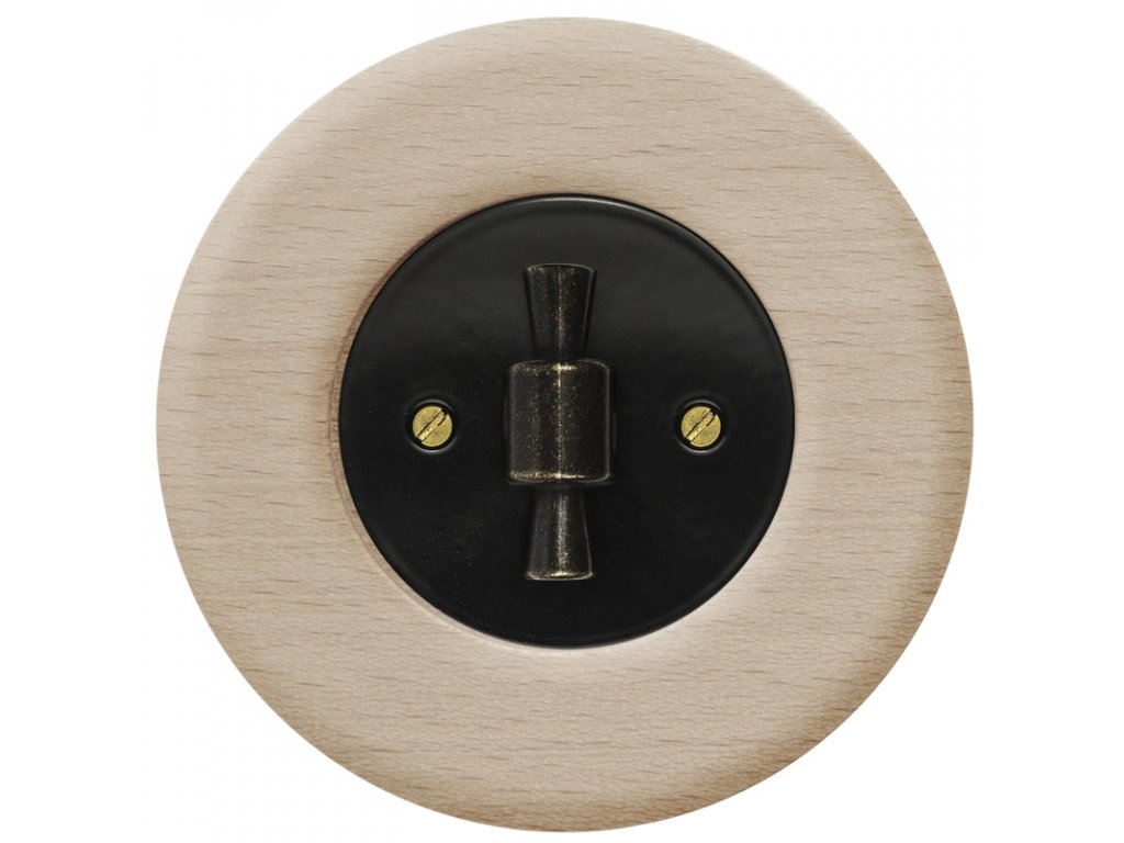 Vypínač dvojpólový, řaz. 2, kompletní, RETRO DŘEVO buk (Varianta Rám: dřevo buk, Kryt: černý, Ovladač: ZLN patina)