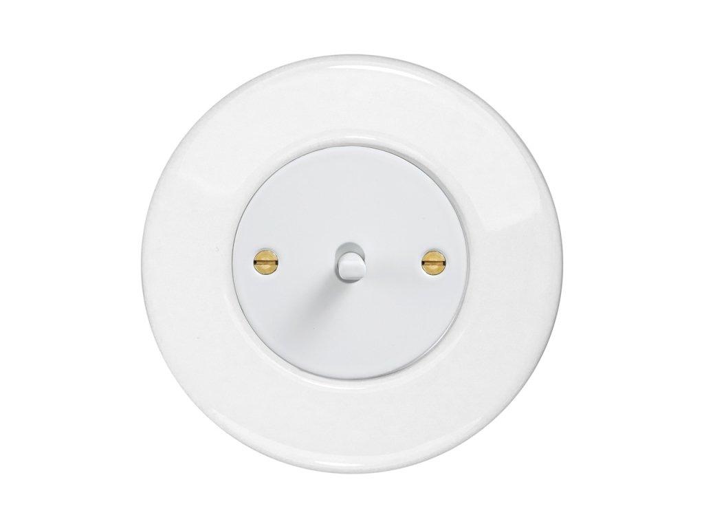 Keramický Retro vypínač páčkový - KERAMIKA bílá (Schéma zapojení Přepínač střídavý páčkový, řaz. 6+6, Varianta Rám: keramika - bílá, Kryt: černý, Ovladač: páčka černá)