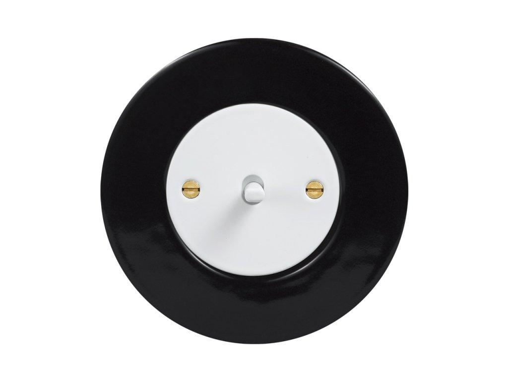Keramický Retro vypínač páčkový - KERAMIKA černá (Schéma zapojení Žaluziový spínač kolébkový s blokací páčkový, Varianta Rám: keramika - černá, Kryt: černý, Ovladač: páčka černá)