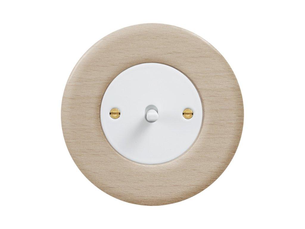 Retro vypínač páčkový - DŘEVO buk (Schéma zapojení Přepínač střídavý páčkový, řaz. 6+6, Varianta Rám: dřevo buk, Kryt: černý, Ovladač: páčka černá)