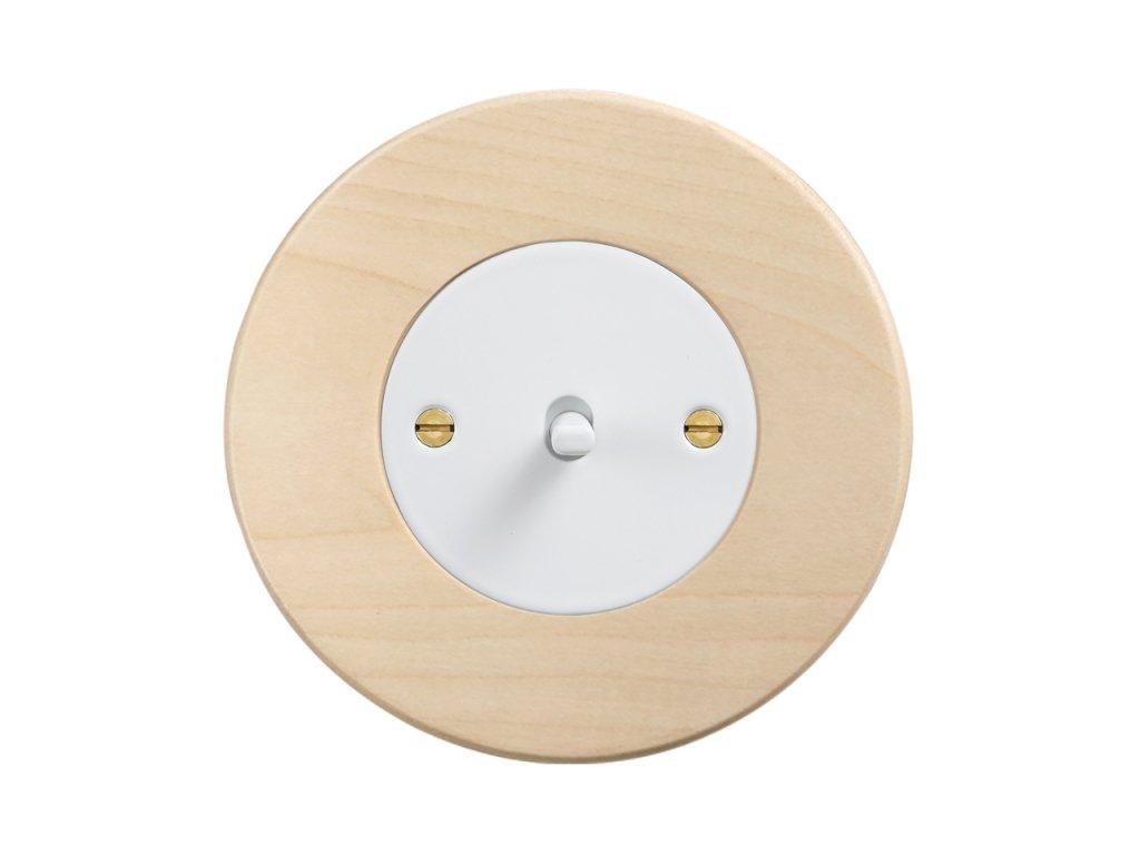 Retro vypínač páčkový - DŘEVO javor (Schéma zapojení Přepínač střídavý páčkový, řaz. 6+6, Varianta Rám: dřevo javor, Kryt: černý, Ovladač: páčka černá)
