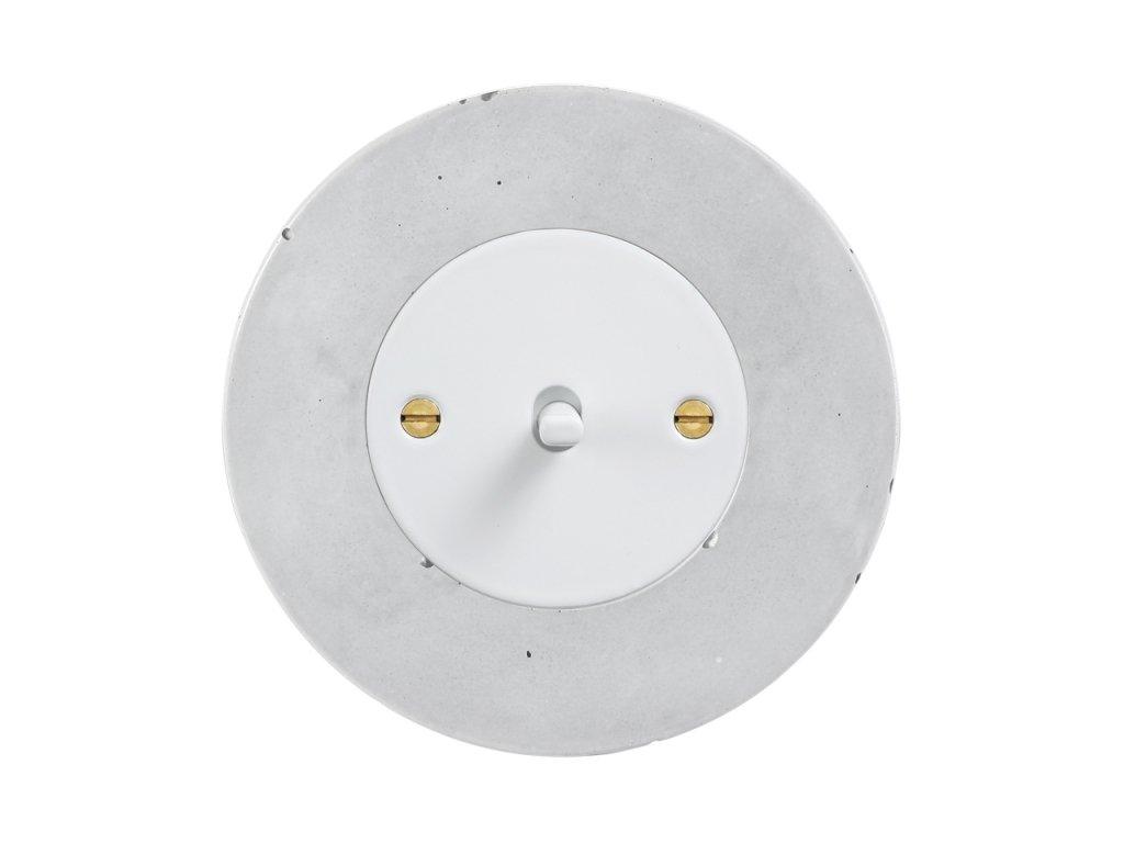 Retro vypínač páčkový - BETON (Schéma zapojení Přepínač střídavý páčkový, řaz. 6+6, Varianta Rám: beton, Kryt: černý, Ovladač: páčka černá)