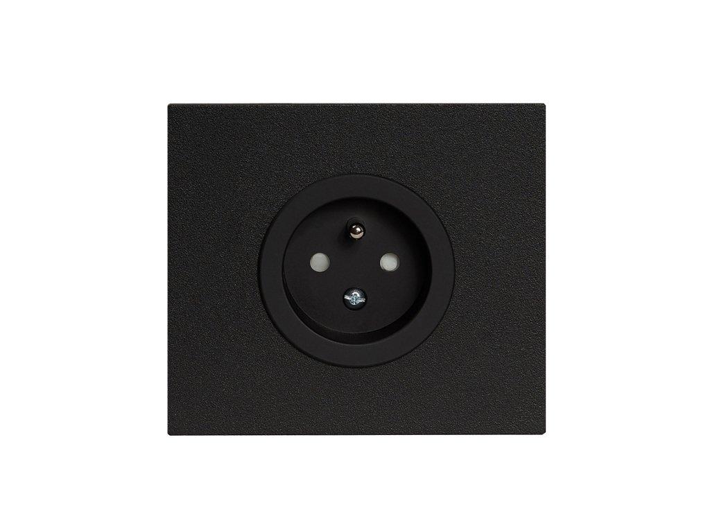 Zásuvka  VECTIS HLINÍK - jednonásobná s clonkam - černá (Varianta Rám: hliník černý, Kryt: bílý)