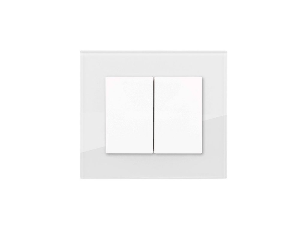 Dvojitý vypínač Obzor DECENTE - SKLO (Schéma zapojení Ovladač zapínací dvojitý 1/0+1/0, tlačítko, Varianty Rám: Sklo antracitově černá, Kryt: bílý lesk)