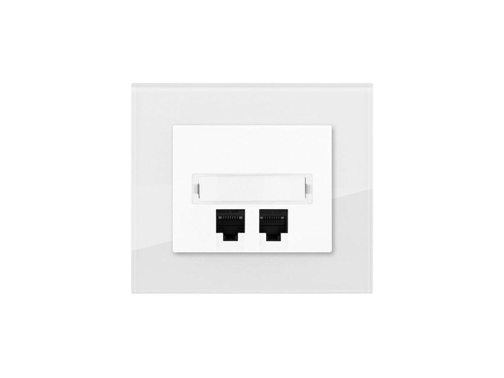 Zásuvka komunikační PC Cat. 6, DECENTE SKLO (Typ Zásuvka komunikační PC Cat. 6, Varianty Rám: Sklo antracitově černá, Kryt: bílý lesk)