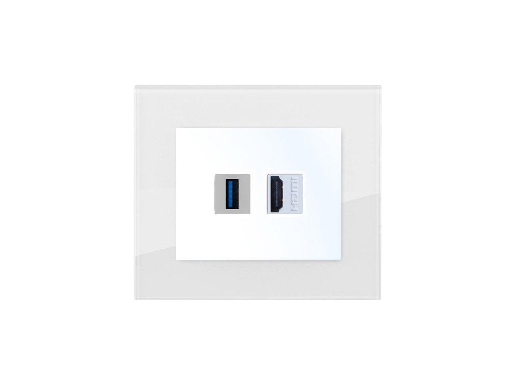 Zásuvka komunikační USB nabíječka, HDMI, DECENTE SKLO (Typ Zásuvka komunikační USB nabíječka, HDMI, Varianty Rám: Sklo černá, Kryt: bílý lesk)