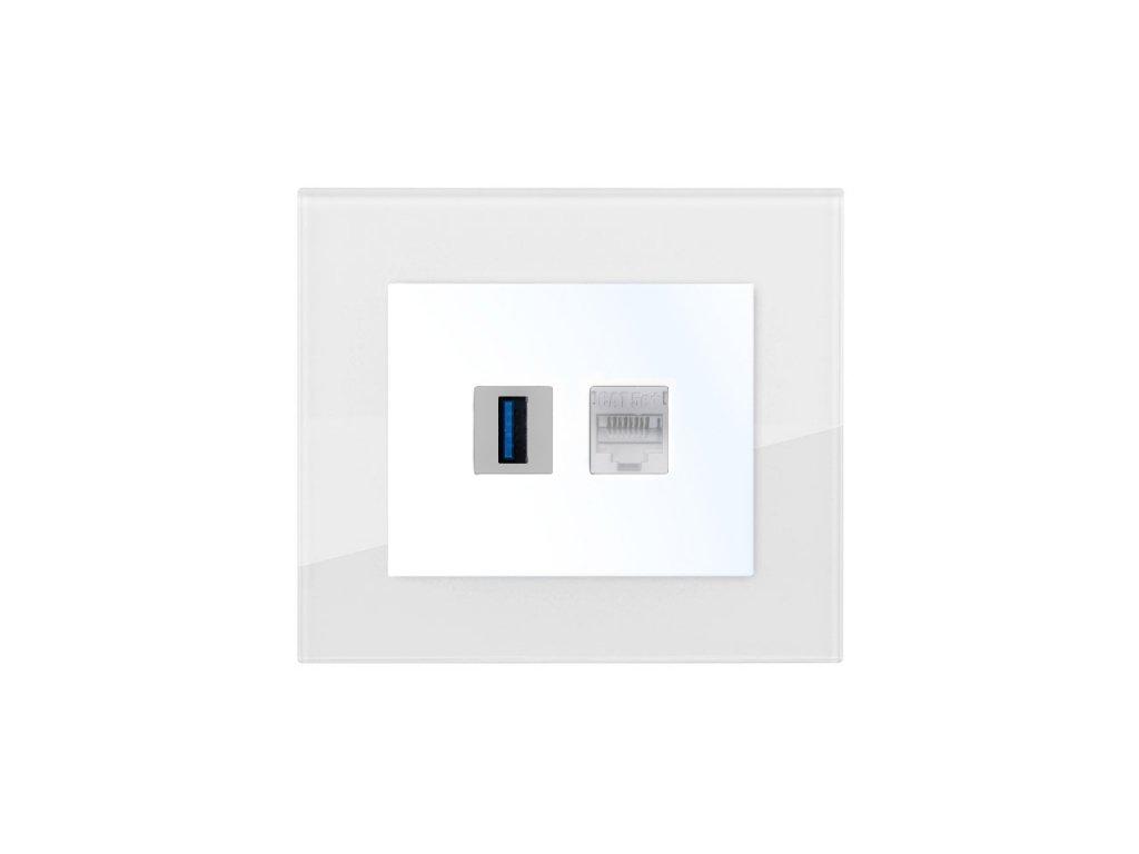 Zásuvka komunikační USB, PC, DECENTE SKLO (Typ Zásuvka komunikační USB, PC, Varianty Rám: Sklo černá, Kryt: bílý lesk)