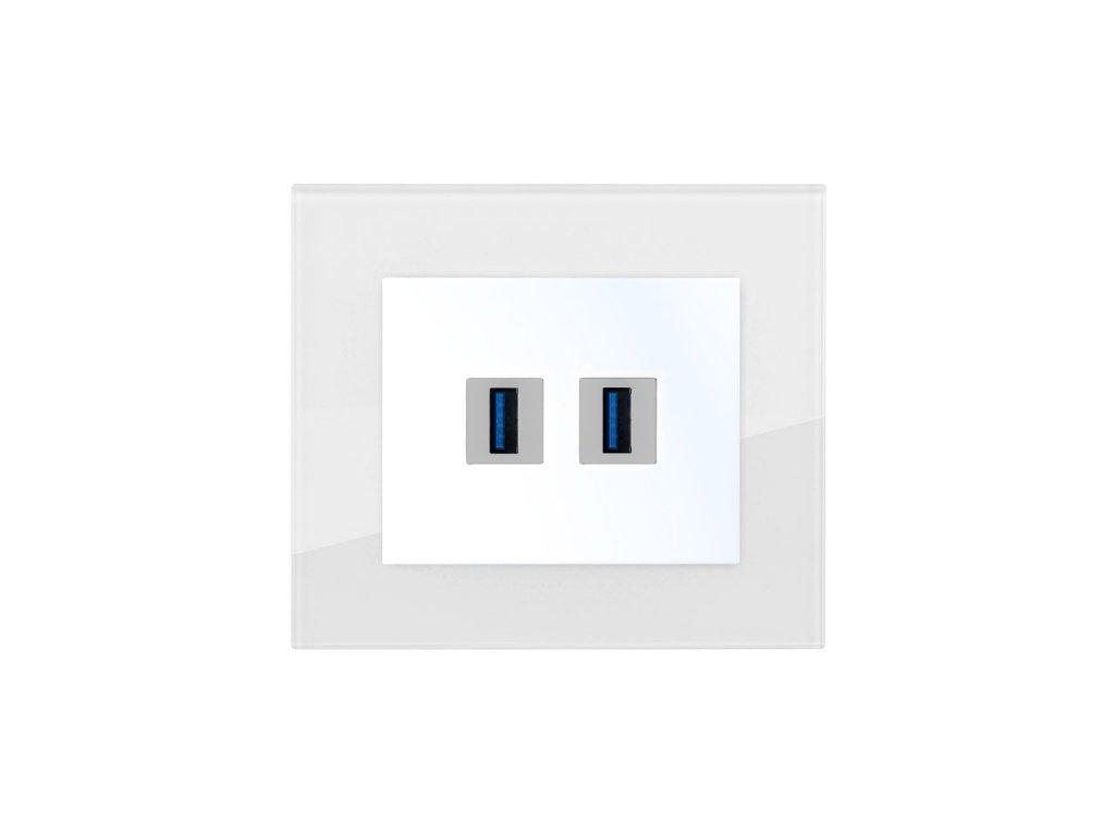 Zásuvka komunikační USB nabíječka dvojitá, DECENTE SKLO (Typ Zásuvka komunikační USB nabíječka dvojitá, Varianty Rám: Sklo černá, Kryt: bílý lesk)