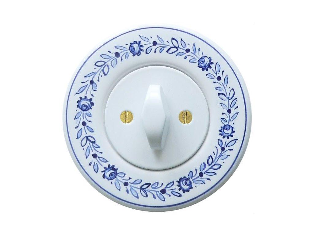 Retro vypínač Obzor - malovaná keramika slovácký vzor (Barevná kombinace Rám: tupeský vzor 1   Kryt: bílý   Ovladač: BTA bílá)