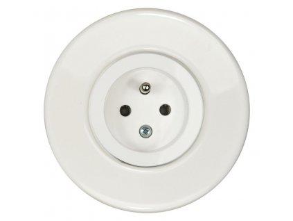 Zásuvka jednonásobná s clonkami, kompletní, RETRO KERAMIKA bílá (Varianta Rám: keramika - bílá, Kryt: černá mat)
