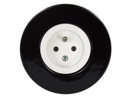 Zásuvka jednonásobná s clonkami, kompletní, RETRO KERAMIKA černá (Varianta Rám: keramika - černá, Kryt: černá mat)