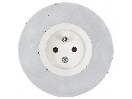 Zásuvka jednonásobná s clonkami, kompletní, RETRO BETON (Varianta Rám: beton, Kryt: černá mat)