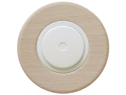LED stmívač otočný push-pull, kompletní, RETRO DŘEVO buk (Varianta Rám: dřevo buk, Kryt: černý, Ovladač: stmívač - bílý)