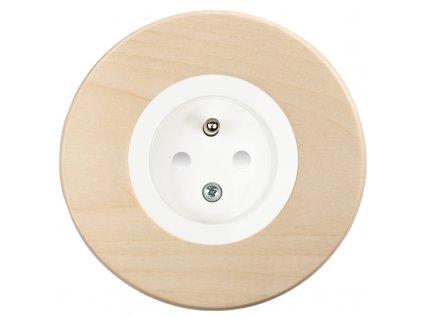 Zásuvka jednonásobná s clonkami, kompletní, RETRO DŘEVO javor (Varianta Rám: dřevo javor, Kryt: bílý)